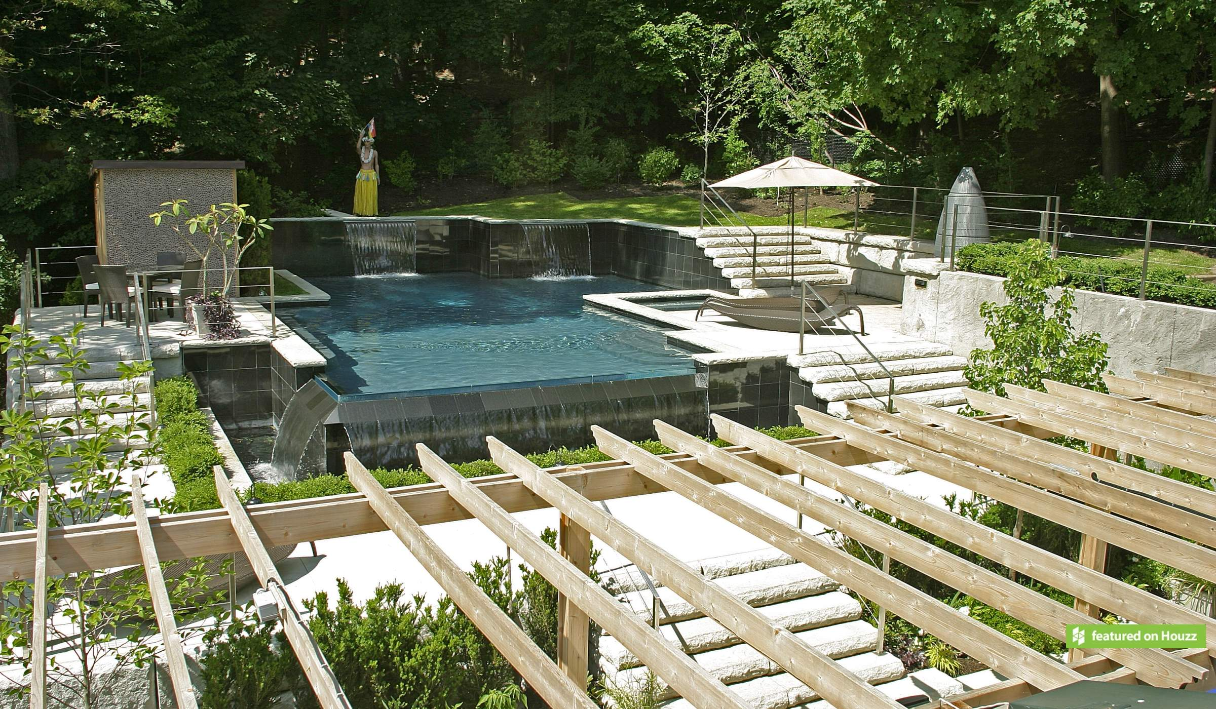 Urban design for a sloping yard betz pools for Pool design sloped yard