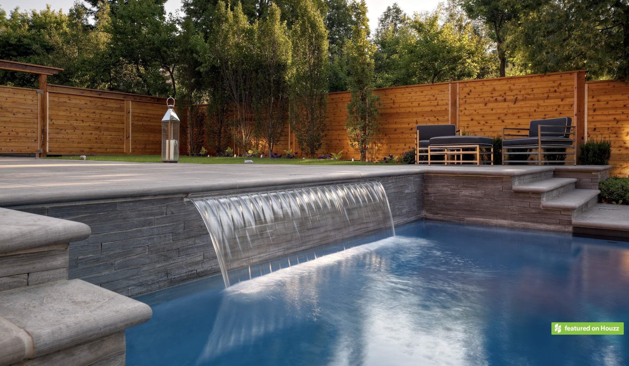 Modern Pool Water Feature
